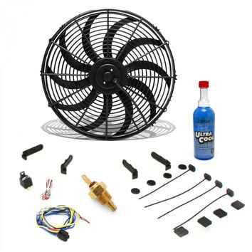 Zirgo Super Cool Pack 1229 fCFM 12 S Blade Fan Fixed Temp Switch Harness and Brackets and Additive