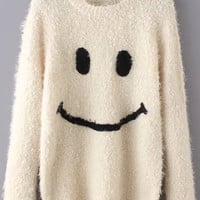 Beige  Sweater with Smiley Pattern Embroidered