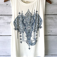 Sleeveless Elephant Print Tank Top (Ivory)