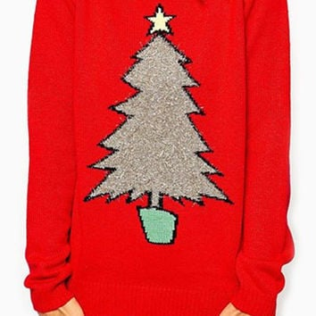 Red Long Sleeve Christmas Tree Pattern Sweater