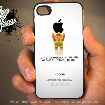 Zelda iPhone 4 4s Hard Case - Legend of Zelda Link Holding Apple Dangerous  - Phone Cover