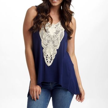 Navy Blue Crochet Front Tank Top