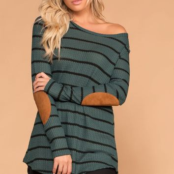 Libby Olive Stripe Elbow Patch Sweater
