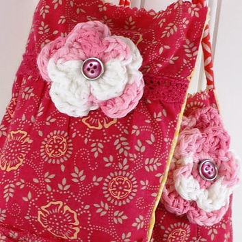 RECYCLED CHILD'S HIPPIE dress, multi flowered, Potpourri Bag, thrift store clothes, crochet flower