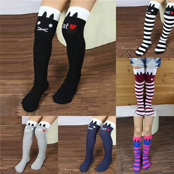 Toddler Kids Girls Knee High Socks School Cotton Tights Striped Stockings for Girls 1-8Y