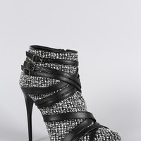 Liliana Tweed Buckle Strappy Almond Toe Stiletto Heeled Booties