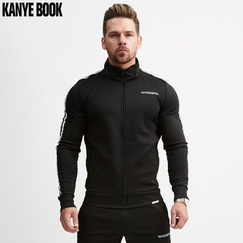 New Style 2018 Autumn Winter European And American Fitness Stripe Zipper Front Hoodies Suitable Running Sports Men's Sweashirts