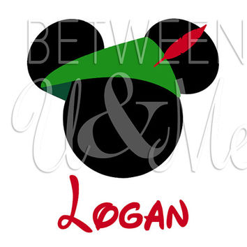 Personalized Peter Pan Hat Mickey Mouse Disney Iron On Decal Vinyl for Shirt