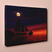 Full Moon Over Sails v1 on Mirror Wrapped Premium Canvas