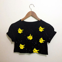 Mini Pikachu Pokemon Black Crop Top T Shirt Festival Hippie Emo Hipster Kawaii