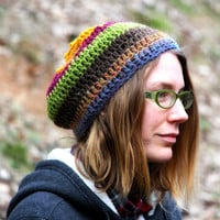 Wool crochet hat, multi colored hat, winter accessory, wool hippie hat