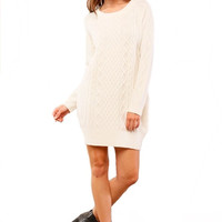 Dublin Darling Cable Knit Sweater Dress - Ivory