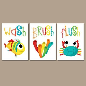 Kid BATHROOM Wall Art, CANVAS Or Prints Crab Fish Bathroom Decor