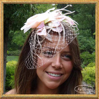 Blush Colored Bridal Headpiece Fascinator Comb with Blush Vintage Rose Velvet and Silk Leaves and Pixie Feathers Russian Bird Cage Veil
