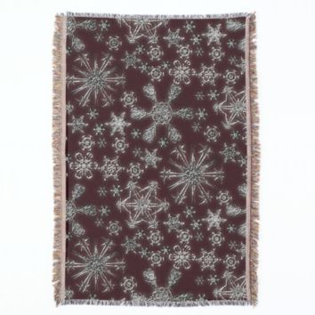 Silver Glitter Snowflakes on Dark Red Throw