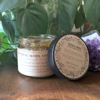 Botanical Face Scrub, organic • raw honey and herbs • all natural, deep exfoliation • organic skincare • 2oz (60ml) glass jar