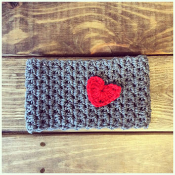 Valentines Day Gift Crochet Heart Ear Warmer Headband Grey Red