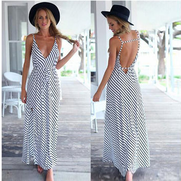 Spaghetti Strap Stripes Chiffon Women's Fashion One Piece Dress [4966114436]