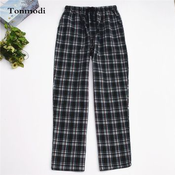 Loose Trousers For Men Woven Cotton Pyjamas Pants Plaid Spring And Autumn Lounge Sleep Bottoms