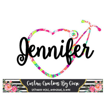 Lilly Pattern Cheetah Heart Nurse Stethoscope Decal, Name Decal For Yeti Car and SO Much More! Nurse Gift, Any Color, Any Size,  Vinyl, Name
