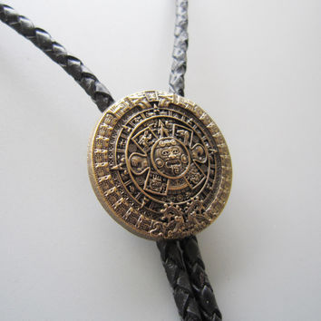 Retail Original Antique Gold Plated Classic Aztec Calendar Sculpting Bolo Tie Necklace BOLOTIE-WT126AG In Stock Free Shipping