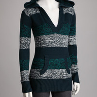 Turquoise Variegated Stripe Hooded Sweater