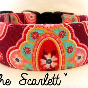 "Girly Pink Dog Collar ""The Scarlett"""