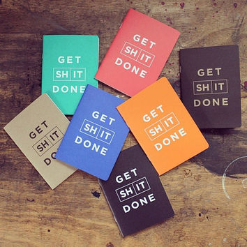 Daily To Do List, Get S#*t Done notebook, green daily planner, daily planner, 2015 daily planner, mint green notebook