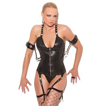 Leather Underwire Zip Front Corset