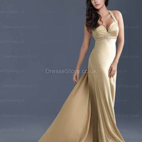 A-line Straps Chiffon Floor-length Gold Appliques Evening Dress at dressestore.co.uk