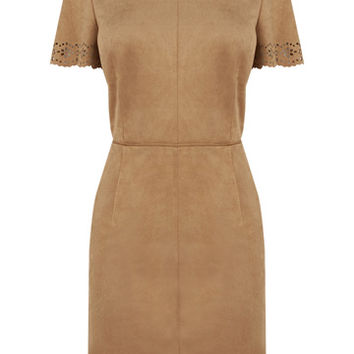 SUEDETTE SCALLOP SHIFT DRESS