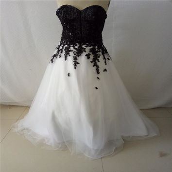 Black Sequin White Organza Sweetheart Beading Ball Gown Long Evening Dresses Prom Dresses Design Formal Dresses Robe De Soiree