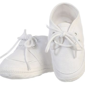 Cotton Oxford Style White Bootie Shoes (Infant Boys newborn - 14 months)