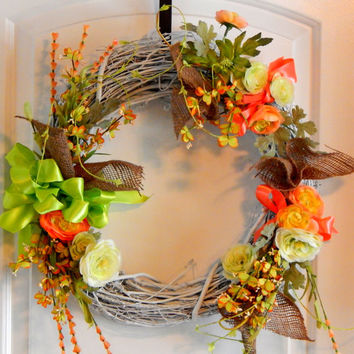 Burlap Grapevine Wreath, Silk Flowers, Seasonal Wreath, Summer Wreath,Spring Wreath,Front Door Decor, Door Hanging – Front Door Wreath
