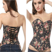 Sexy Waist Shaper Body Denim Print Slim Corset [4965336964]