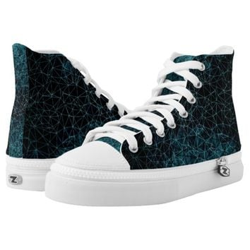 Polygons in blue colors printed shoes