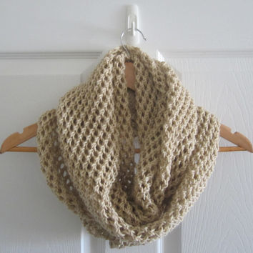 Hand Knit Scarf - Extra Large Scarf - Wide Scarf - Beige Scarf - Knitted Circle Scarf - Eco Friendly Knit - Infinity Scarf - Lacy Knit Cowl