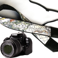 DSLR / SLR Camera Strap. World Map Camera Strap. Camera accessories. Photographer gift. Map. Europe. Asia. America.