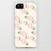 Pink Vintage Roses Pattern iPhone & iPod Case by heartlocked