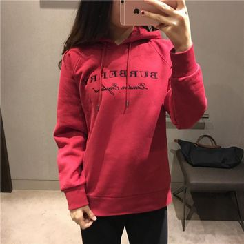 Burberry Women Simple Casual Letter Embroidery Hooded Long Sleeve Pullover Sweater Sweatshirt Tops