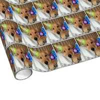 Golden Retriever in Pajamas Birthday Gift Wrap Paper