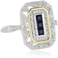 Sterling Silver and 14k Yellow Gold Blue Sapphire and Diamond Accent Art Deco-Style Ring (1/10 cttw, I-J Color, I3 Clarity)