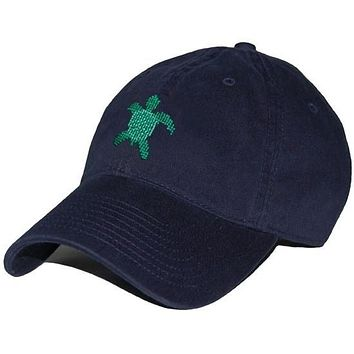 Sea Turtle Needlepoint Hat in Navy by Smathers & Branson