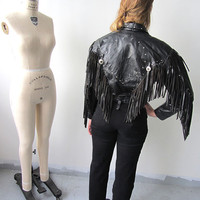 Amazing Black Leather Jacket with Fringe and Stud Detailing and Embossed Eagle on Back