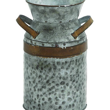 Antique Style Grey and Brown Milk Can 93994 by Benzara
