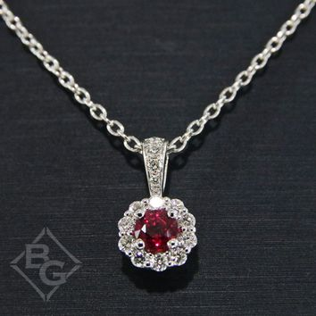 Ben Garelick Round Cut Ruby & Diamond Halo Pendant