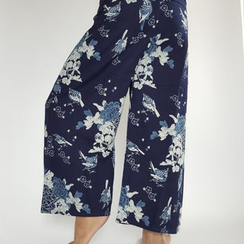 Weaver Bird Handmade Mo Hom Phare Indigo Thai Fisherman Pants Wide Leg pants, Wrap pants, Unisex pants