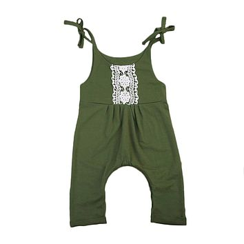 Summer Newborn Baby Boy Girl Jumpsuit Romper Tank Sleeveless Lace Outfits Sunsuit Clothes Set 0-24M