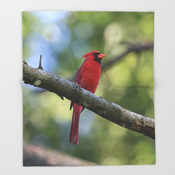 Cardinal Series I Throw Blanket by Theresa Campbell D'August Art