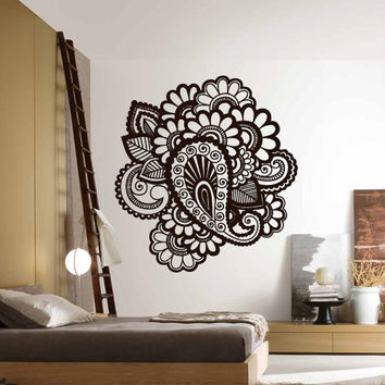 Wall Decor Vinyl Sticker Room Decal Symbol Flowers mehndi Indian Ornament (s13)